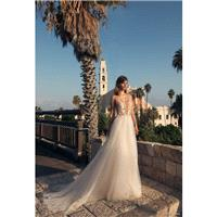 Julie Vino 2018 60 Open Back Chapel Train Ivory V-Neck Sleeveless Aline Embroidery Outdoor Tulle Wed