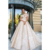 Crystal Design 2017 Emilia Tulle Embroidery Off-the-shoulder Sweet Champagne Royal Train Ball Gown S