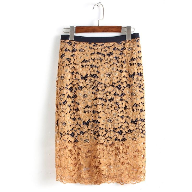 My Stuff, Hollow Out Slimming Sheath Lace Skirt Basics Pencil Skirt - Discount Fashion in beenono