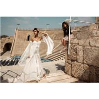 Gala by Galia Lahav 2017 GALA-806 Sweetheart Ivory Long Sleeves Trumpet Vogue Chapel Train Split Fro