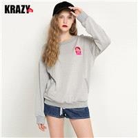 Cozy Embroidery Scoop Neck Jersey Cheerful Casual Hoodie T-shirt - Bonny YZOZO Boutique Store
