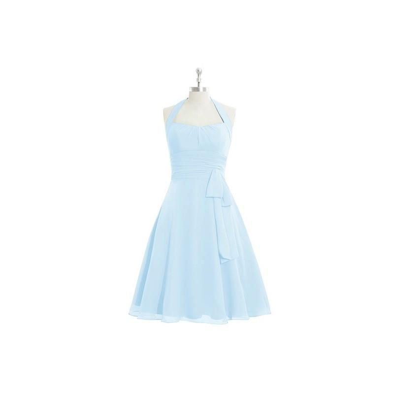 My Stuff, Sky_blue Azazie Haley - Back Zip Chiffon Knee Length Halter Dress - Simple Bridesmaid Dres