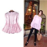 Sweet Split Front Long Sleeves Lace Summer Girlish T-shirt Top - Discount Fashion in beenono