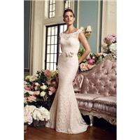 Mikaella Fall/Winter 2017 Style 2157 Sweet Ivory Hall Chapel Train with Sash Lace Sleeveless Sheath