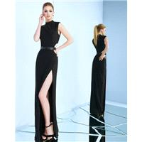 Mac Duggal Couture - 25008 High Neck Long Dress with Slit - Designer Party Dress & Formal Gown