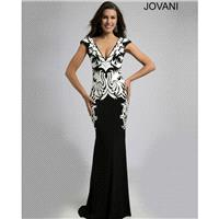 Jovani 99014 V-Neck Cap Sleeve Semi-Open Square Back Fit And Flare - 2018 New Wedding Dresses