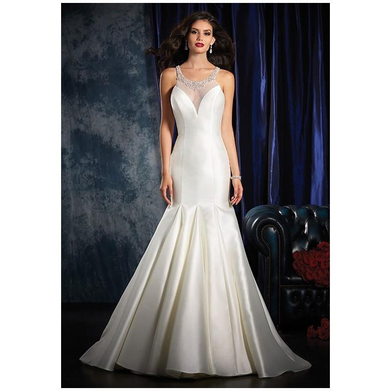 wedding, Alfred Angelo Sapphire Bridal Collection 992 - Mermaid Illusion Natural Floor Semi-Cathedra