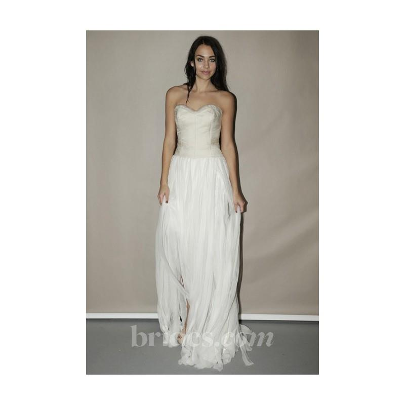 My Stuff, Leila Hafzi - Spring 2013 - Strapless Sheath Wedding Dress with a Sweetheart Satin Bodice