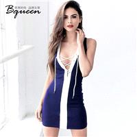 Vogue Sexy Hollow Out Slimming Sheath White Blue Summer Tie Dress - Bonny YZOZO Boutique Store