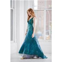 Teal Blue wedding dress and crinoline boho beach bridal gown mother of the bride ocean blue island w