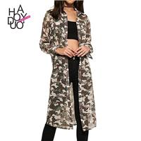 Ladies fall 2017 new stylish Camo perspective loose long sleeve long jacket - Bonny YZOZO Boutique S