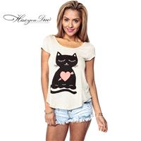 Asymmetrical Printed Scoop Neck Sleeveless Cat White Short Sleeves T-shirt - Bonny YZOZO Boutique St