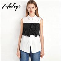 Fall 2017 new ladies stylish contrast color stitching slim sleeveless t-shirt woman - Bonny YZOZO Bo
