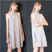 New retro summer half high neck long vest professional women in elegant clothes in simple loose late