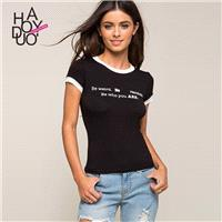 2017 summer dress new fashion color printing in black and white round neck short sleeve t-shirt woma