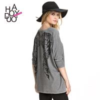 Oversized Printed Drop Shoulder Angel Wing Fall T-shirt - Bonny YZOZO Boutique Store