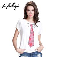 School Style Must-have Vogue Printed Scoop Neck One Color Summer Casual T-shirt Tie - Bonny YZOZO Bo