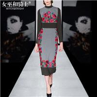 2017 autumn winter new fashion ladies embroidery spell color slim fit dress long section of the penc