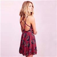 Sexy Open Back Slimming Crossed Straps Chiffon Zipper Up Floral Dress Strappy Top - Bonny YZOZO Bout