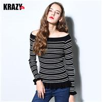 Sweet Slimming Agaric Fold Off-the-Shoulder Stripped Flexible Knitted Sweater - Bonny YZOZO Boutique