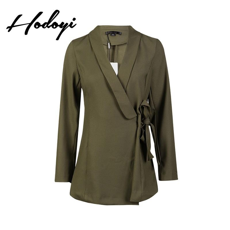 wedding, Vogue Attractive Slimming V-neck One Color Fall Tie Casual 9/10 Sleeves Coat - Bonny YZOZO