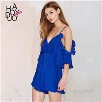 Sexy Open Back Agaric Fold Low Cut Off-the-Shoulder Summer Strappy Top Jumpsuit - Bonny YZOZO Boutiq