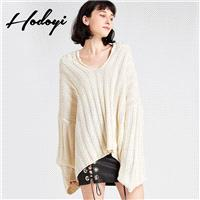 Oversized Vogue Simple Drop Shoulder Jersey One Color Fall Casual 9/10 Sleeves Hat Sweater - Bonny Y