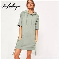 Oversized Vogue Ripped Crossed Straps One Color Fall Short Sleeves Hoodie Hat - Bonny YZOZO Boutique