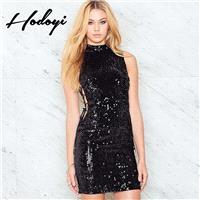 Must-have Vogue Sexy Hollow Out Sequined Lace Up Summer Tie Tight Dress - Bonny YZOZO Boutique Store
