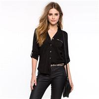 School Style Must-have Simple Attractive Slimming V-neck One Color Fall Casual 9/10 Sleeves Blouse T