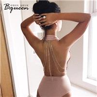 2017 summer New Fashion Sexy Backless chain Halter deep V fashion jumpsuit short - Bonny YZOZO Bouti