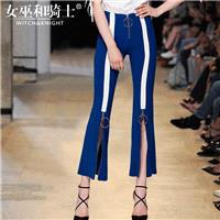 Split Solid Color Zipper Up Summer High Waisted Trouser Flare Trouser Casual Trouser Long Trouser -