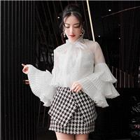 Attractive Pleated Bow Slimming Flare Sleeves Fine Lady Blouse Top - Bonny YZOZO Boutique Store
