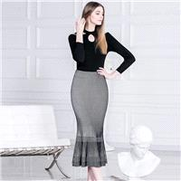 New retro black and white contrast stripe slim fishtail skirts for fall/winter knit dresses simple s