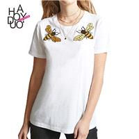 School Style Must-have Vogue Simple Embroidery Cartoon Summer Short Sleeves T-shirt - Bonny YZOZO Bo