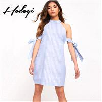 Oversized Vogue Sexy Sweet Bow Off-the-Shoulder Sleeveless Summer Tie Stripped Dress - Bonny YZOZO B