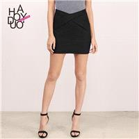 Must-have Vogue Sheath High Waisted Crossed Straps One Color Casual Skirt - Bonny YZOZO Boutique Sto