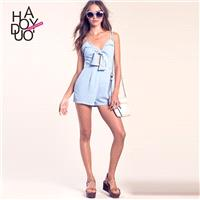2017 summer dress new sexy pierced lace strap chiffon one-piece jumpsuits and shorts - Bonny YZOZO B
