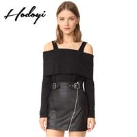 Vogue Sexy Simple Slimming Off-the-Shoulder One Color Fall 9/10 Sleeves Strappy Top T-shirt - Bonny
