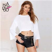 Vogue Hollow Out Long Sleeves Seen Through Crop Top Knitted Sweater Sweater - Bonny YZOZO Boutique S