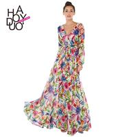 Sexy Printed Ruffle Bishop Sleeves V-neck Trail Dress Floral Summer Dress - Bonny YZOZO Boutique Sto