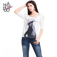 Must-have Vogue Printed 1/2 Sleeves Famous People Fall Casual T-shirt - Bonny YZOZO Boutique Store