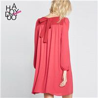 Oversized Sweet Solid Color Bow Summer Dress - Bonny YZOZO Boutique Store