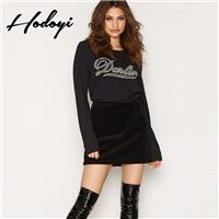 Oversized Vogue Printed Scoop Neck Alphabet Fall Comfortable Casual 9/10 Sleeves Hoodie - Bonny YZOZ