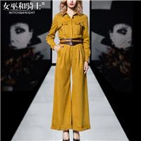 2017 autumn new Womenswear fashion retro simple long sleeve shirt tops quality wide-leg trouser suit
