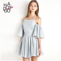 Vogue Pleated Frilled Sleeves Curvy Off-the-Shoulder Summer Dress - Bonny YZOZO Boutique Store