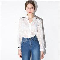 Oversized Vogue Sexy Seen Through V-neck Jacquard Star Casual 9/10 Sleeves Chiffon Top - Bonny YZOZO