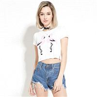 Must-have Vogue Fresh Printed Slimming Flammingo Casual Crop Top T-shirt - Bonny YZOZO Boutique Stor
