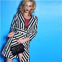Fall 2014 lapel trench coat striped coats long striped coat 862 - Bonny YZOZO Boutique Store
