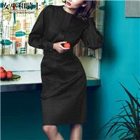 Spring 2017 new high-end fashion simple skinny-tie round neck long dress women - Bonny YZOZO Boutiqu
